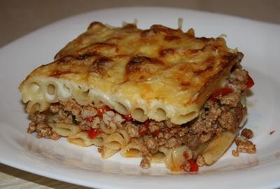 Запеканка из овощей с языком и сыром