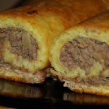 Картофельный рулет-колбаса на пару